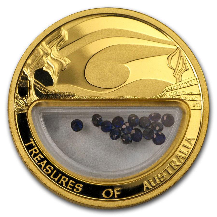 Золотая монета 100 долларов 2007 год. Австралия. Сокровища Австралии. Сапфиры - 1