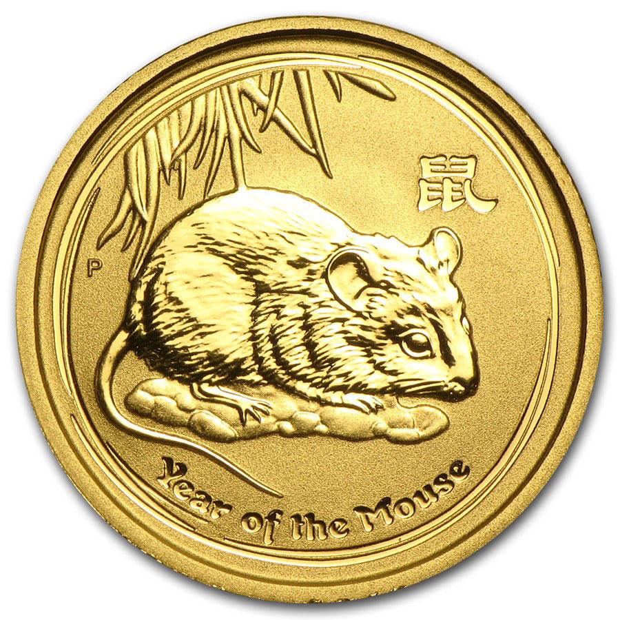 Золотая монета 15 долларов 2008 год. Австралия. Лунар. Год Крысы - 1