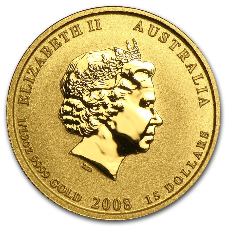 Золотая монета 15 долларов 2008 год. Австралия. Лунар. Год Крысы