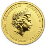 Золотая монета 5 долларов 2008 год. Австралия. Лунар. Год Крысы