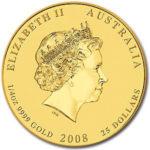 Золотая монета 25 долларов 2008 год. Австралия. Лунар. Год Крысы
