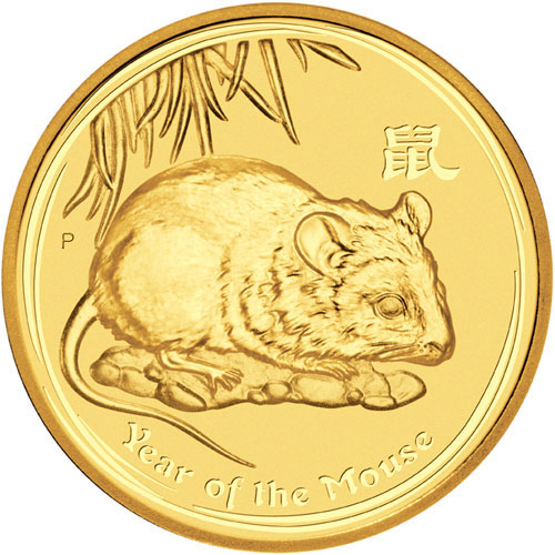 Золотая монета 3000 долларов 2008 год. Австралия. Лунар. Год Крысы - 1