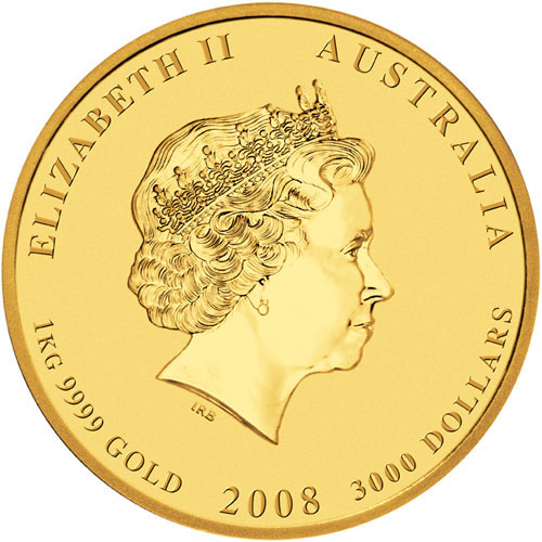Золотая монета 3000 долларов 2008 год. Австралия. Лунар. Год Крысы