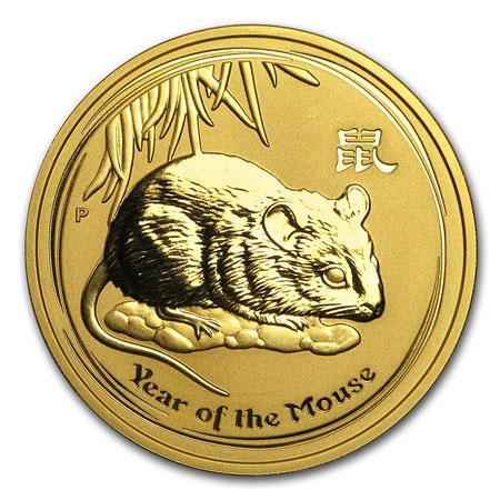Золотая монета 200 долларов 2008 год. Австралия. Лунар. Год Крысы - 1