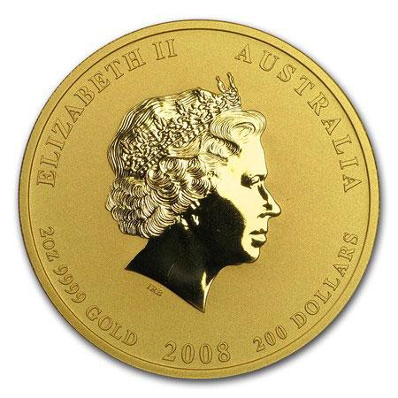 Золотая монета 200 долларов 2008 год. Австралия. Лунар. Год Крысы