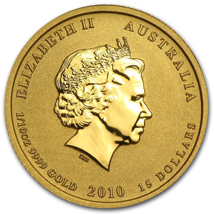 Золотая монета 15 долларов 2010 год. Австралия. Лунар. Год Тигра