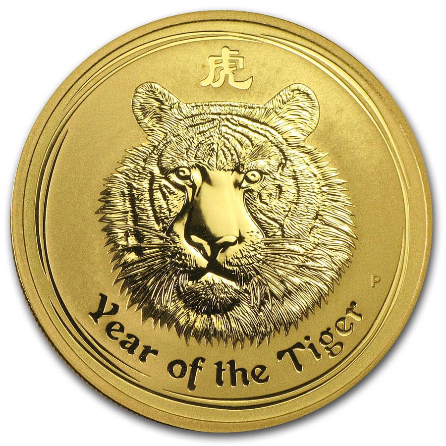 Золотая монета 15 долларов 2010 год. Австралия. Лунар. Год Тигра - 1