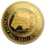 Золотая монета 100 долларов 2011 год. Австралия. Самородки