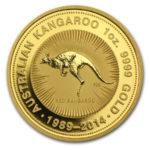 Золотая монета 100 долларов 1989-2014 год. Австралия. Красный кенгуру