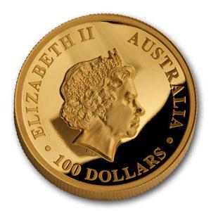 Золотая монета 100 долларов 2014 год. Австралия. Клиновидный орел - 1