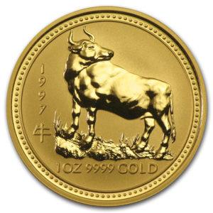 Золотая монета 100 долларов 1997 год. Австралия. Лунар. Год Быка