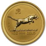 Золотая монета 100 долларов 1998 год. Австралия. Лунар. Год Тигра