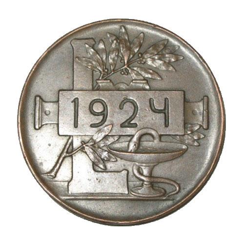 Памятная настольная медаль 50 лет научной деятельности И.П.Павлова - 1