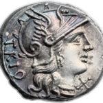 Серебряный Республиканский Денарий Гнея Лукреция Триона, 136 год до н.э.