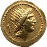 Золотой ауреус, Паблий Клодий, 42 год до н.э.