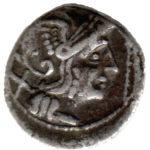 Серебряный Республиканский Денарий Анонимного выпуска, 211-208 год до н.э.