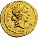Золотой ауреус, Гай Кассий Лонгин, 42 год до н.э.