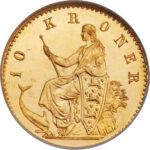 Золотая монета 10 Крон (10 Kroner) Дания