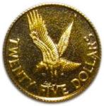 Золотая монета 25 долларов Виргинских островов