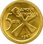 Золотая монета 5 Франков (5 Francs) Конго
