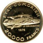 Золотая монета 20 000 Франков (20 000 Francs) Коморские острова