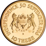 Золотая монета 10 Тхебе (10 Thebe) Ботсвана