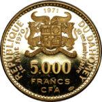 Золотая монета 5000 Франков Бенина