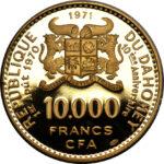 Золотая монета 10 000 Франков Бенина