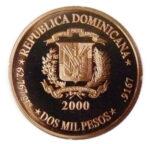Золотая монета 2000 Песо (2000 Pesos) Доминикана