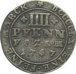 Серебряная монета 4 Пфеннига (4 Pfennig) Германия