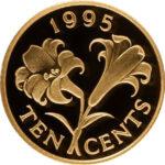 Золотая монета 10 центов Бермудских островов