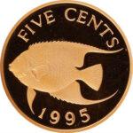 Золотая монета 5 центов Бермудских островов
