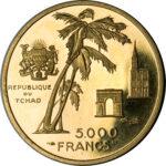 Золотая монета 5000 Франков (5000 Francs) Чад