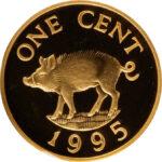 Золотая монета 1 цент Бермудских островов