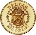 Золотая монета 250 долларов Белиза