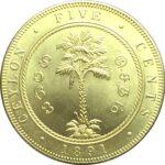 Золотая монета 5 центов (5 Cents) Цейлон