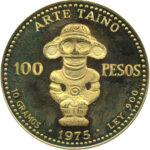 Золотая монета 100 Песо (100 Pesos) Доминикана