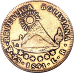 Золотая монета 4 скудо (4 Scudos) Боливия