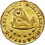 Золотая монета ½ скудо (½ Scudo) Боливия