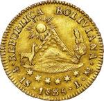 Золотая монета 1 скудо (1 Scudo) Боливия