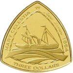Золотая монета 3 доллара Бермудских островов