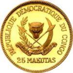 Золотая монета 25 Макут (25 Makutas) Конго