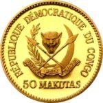 Золотая монета 50 Макут (50 Makutas) Конго