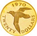 Золотая монета 20 долларов Бермудских островов