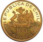 Золотая монета 100 Эскудо (100 Escudos) Чили