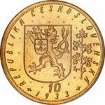 Золотая монета 10 Дукатов (10 Dukátů) Чехословакия