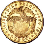 Золотая монета 10 Песо (10 Pesos) Колумбия