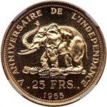 Золотая монета 25 Франков (25 Francs) Конго