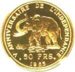 Золотая монета 50 Франков (50 Francs) Конго