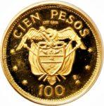 Золотая монета 100 Песо (100 Pesos) Колумбия